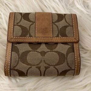 Coach Signature Canvas & Leather Tan Small Wallet